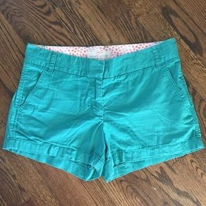 J. Crew Green Cotton Chino Shorts Size 6